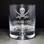 Hands Off Whisky Glass, PERSONALISED, ref SCBCW